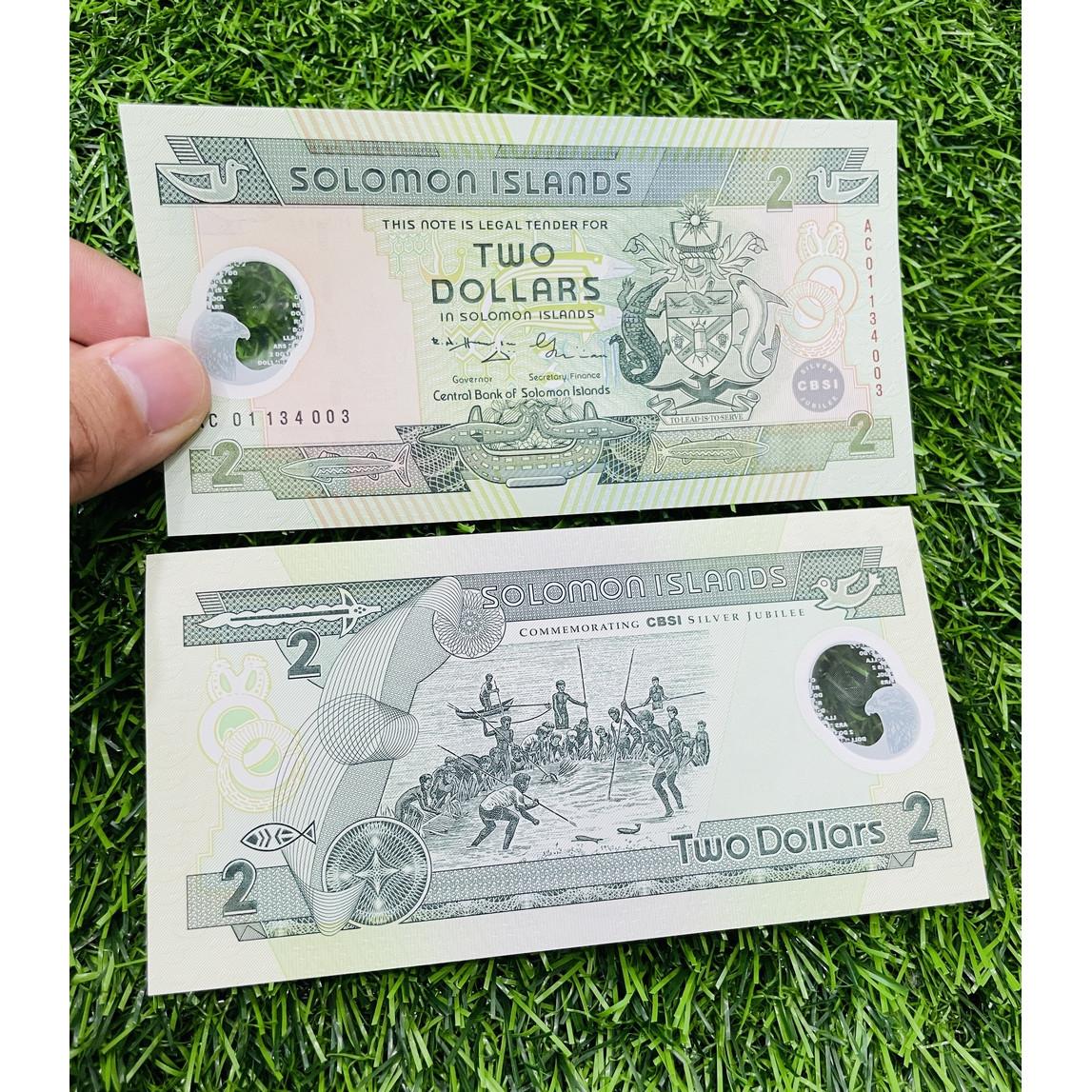 Tiền Solomon 2 Dollar cảnh đắt bắt cá, bằng polymer, đất nước ở Nam Thái Bình Dương, mới 100% UNC, tặng túi nilon bảo quản