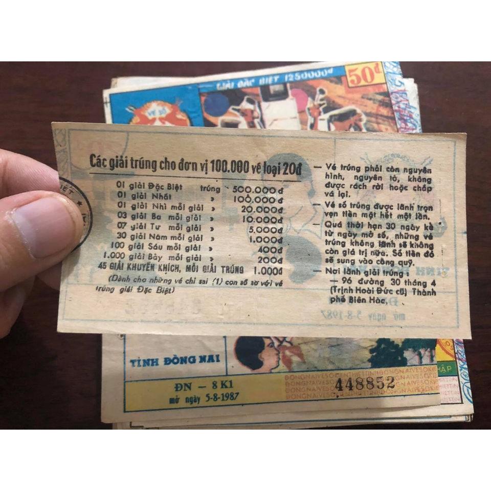 Tờ vé số bao cấp tỉnh Đồng Nai 198x sưu tầm