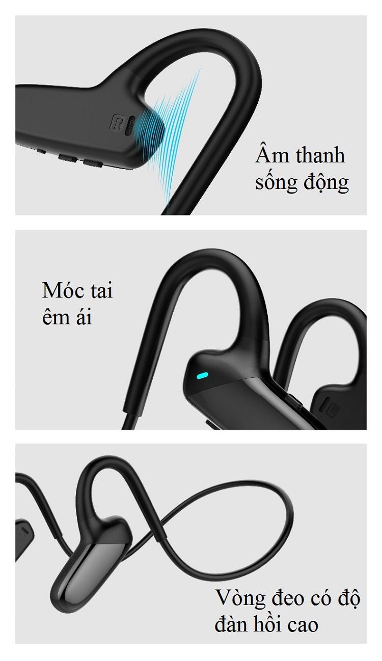 Tai nghe dẫn xương bluetooth F808 -  Hàng Nhập Khẩu