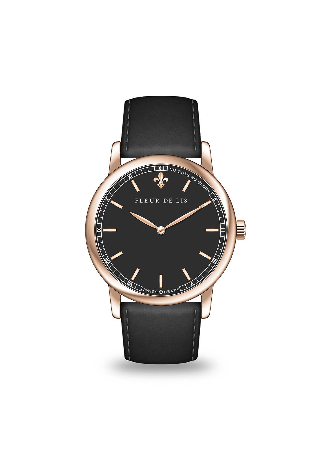 Đồng hồ nam Fleur De Lis ACE-01 hàng chính hãng chống nước mặt shaphire 41mm dây da cao cấp