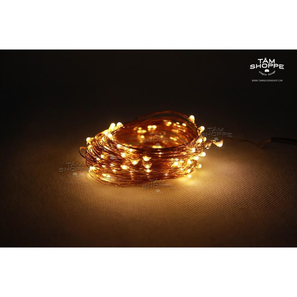 Dây đèn Led dây đồng đom đóm Fairy Light 10m Vàng ấm xài điện trực tiếp