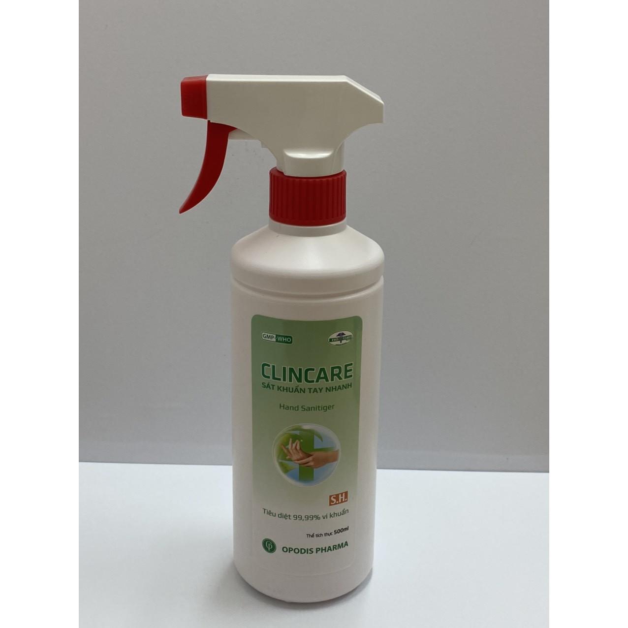 Xịt sát khuẩn tay nhanh khô và bề mặt vật dụng Clincare SH 500ml