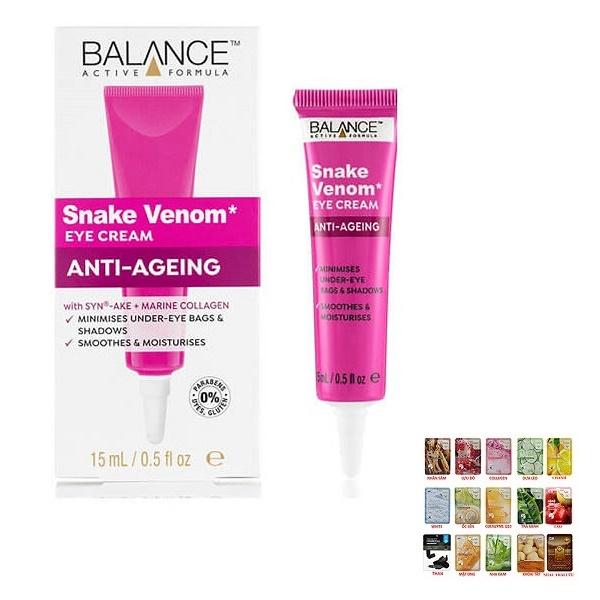 Kem Dưỡng Mắt Nọc Rắn Balance Active Formula Snake Venom Eye Cream 15ml [ Được Mask 3W Clinic ]