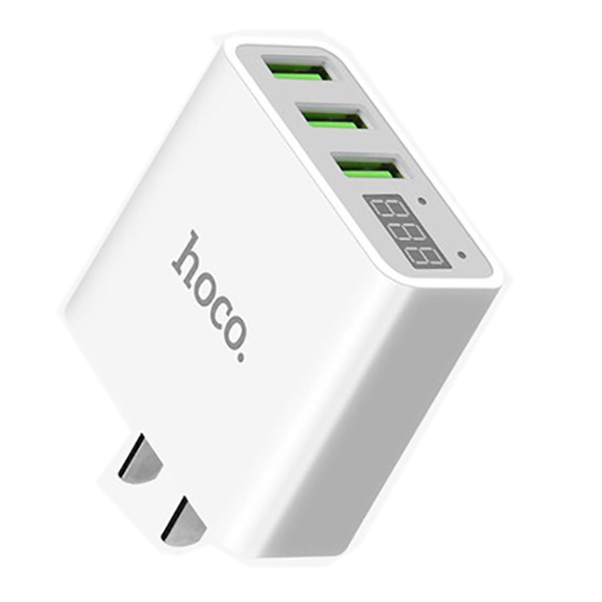 Củ Sạc Điện Thoại  Hoco C15 - 3 Cổng USB 3A + Tặng Kèm 01 Cáp Sạc IPhone - Hàng Chính Hãng