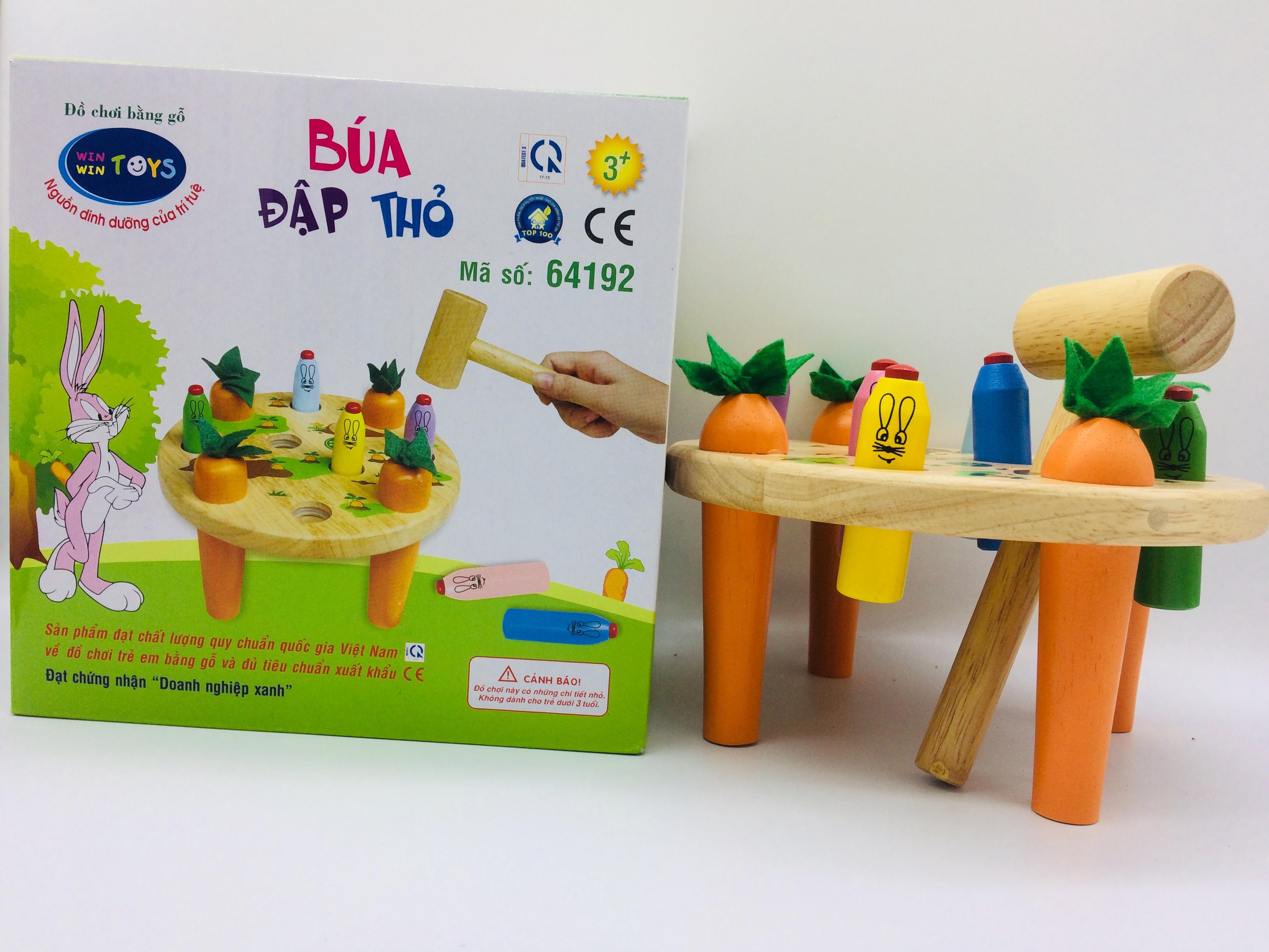 Combo đồ chơi gỗ cho bé - Búa đập thỏ tặng kèm bộ xếp hình thông minh