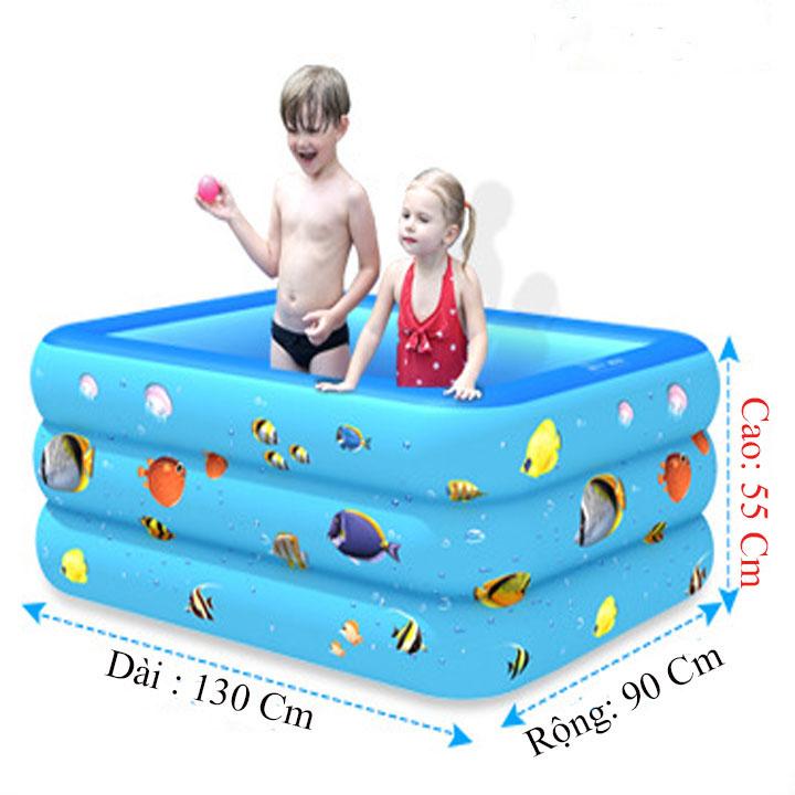 Bể Bơi Phao 3 Tầng Đáy Chống Trượt Kích Cỡ 130x85x50 cm ( Hình Ngẫu Nhiên ) Tặng Bơm Điện