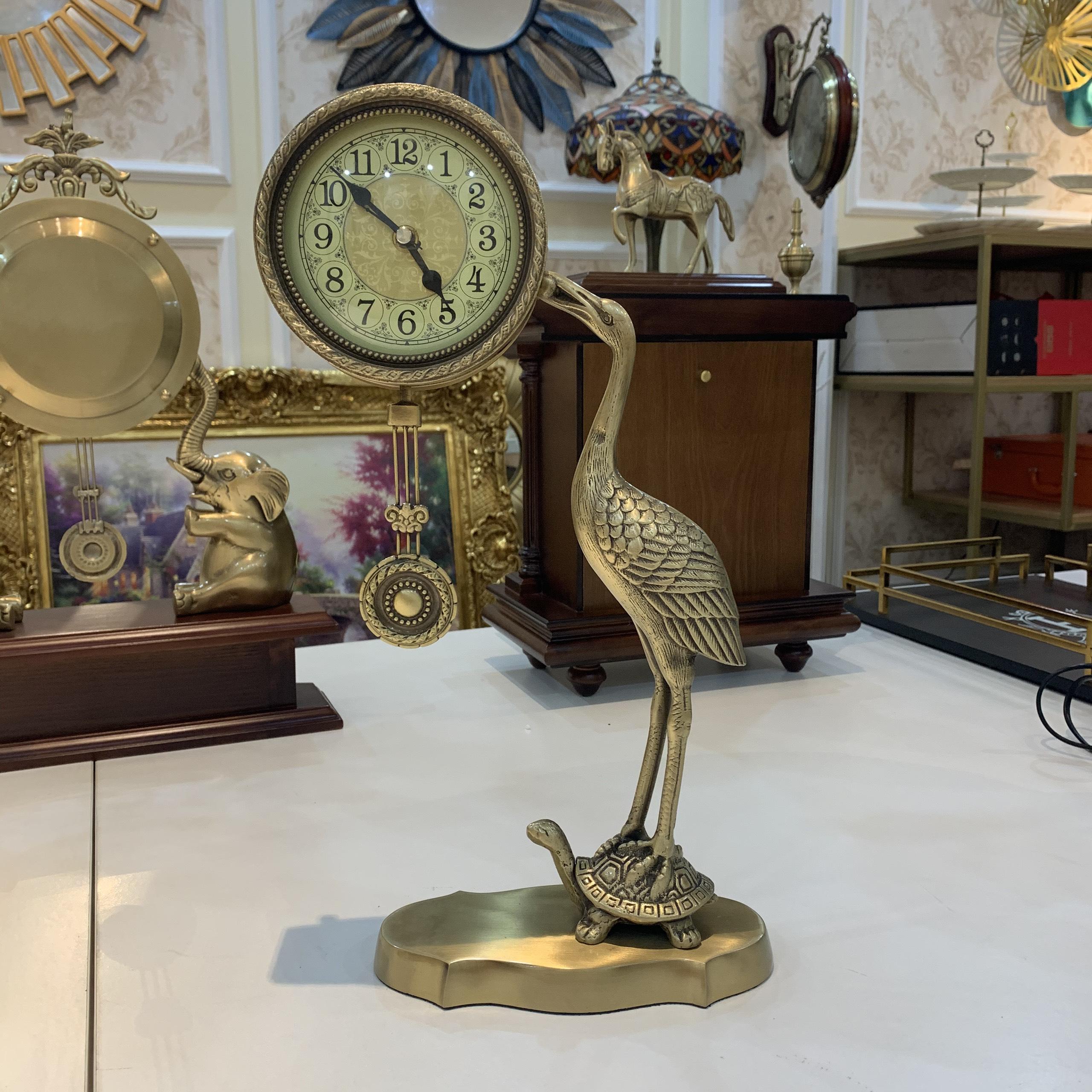 Đồng hồ để bàn Hạc trên lưng Rùa thuần đồng DH17