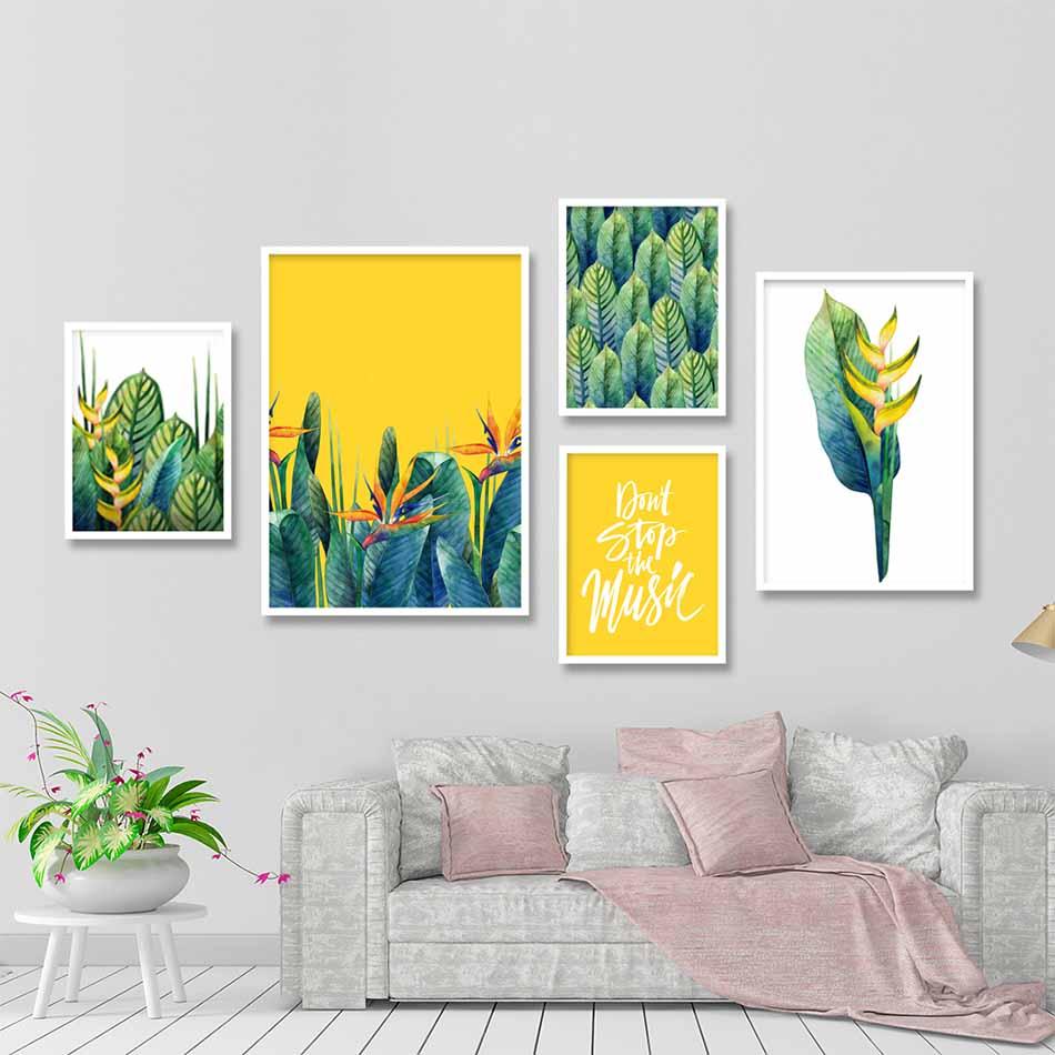 Bộ 5 tranh canvas treo tường Decor Hoa lá phong cách scandinavian - DC080