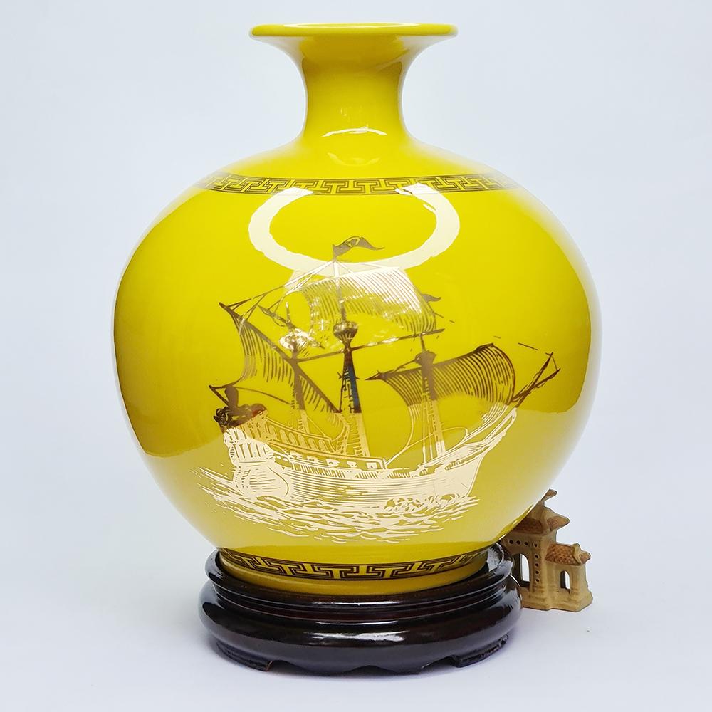 Bình Hút Lộc Gốm Sứ Vàng Vẽ Vàng - Thuận Buồm Xuôi Gió - S2 - Mx