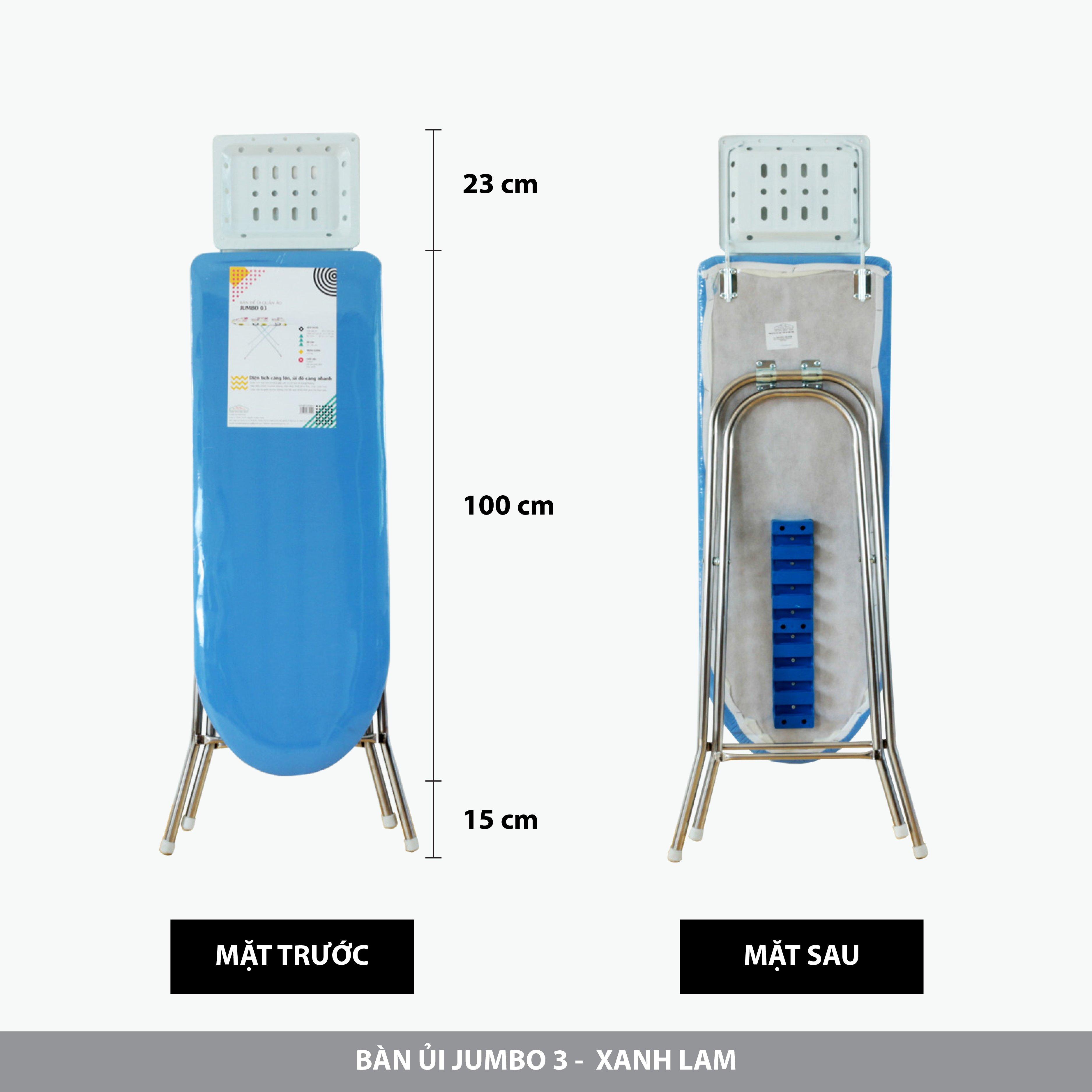 Bàn để ủi quần áo Jumbo 03 chân Inox 38x100cm - Xanh Cobalt