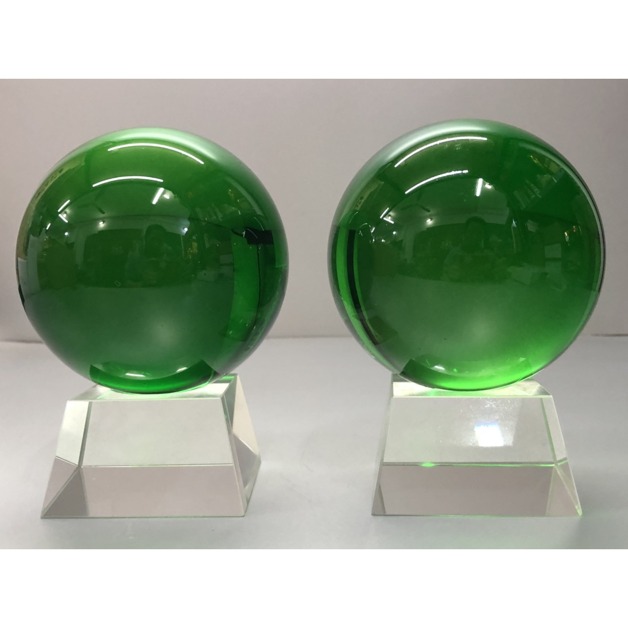 combo 2 quả cầu phong thủy xanh lá hút lộc KH12035
