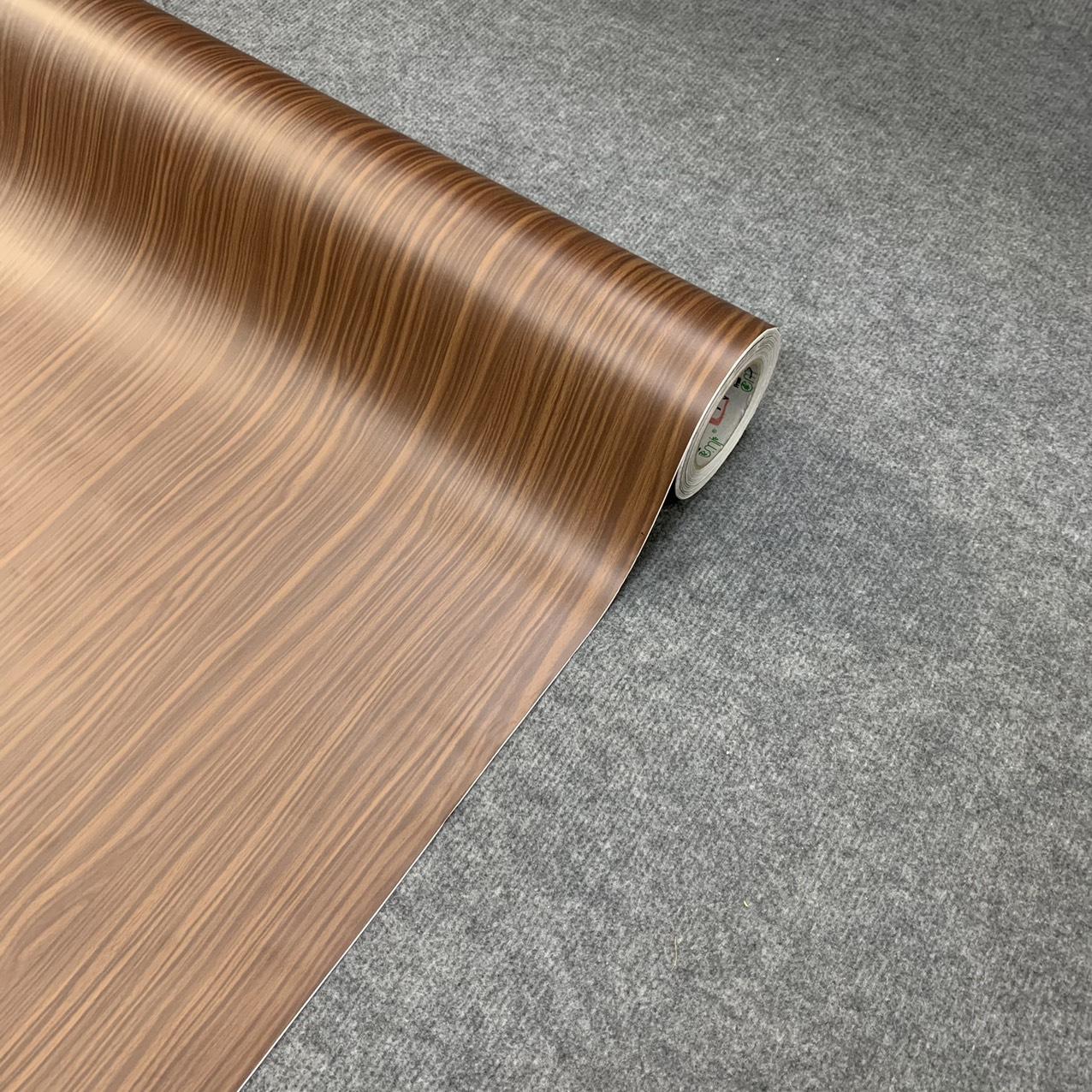 Decal gỗ màu nâu đậm vân ngang - Giấy dán tường bàn tủ có sẵn keo ( khổ 1,2m - Mẫu G11 )