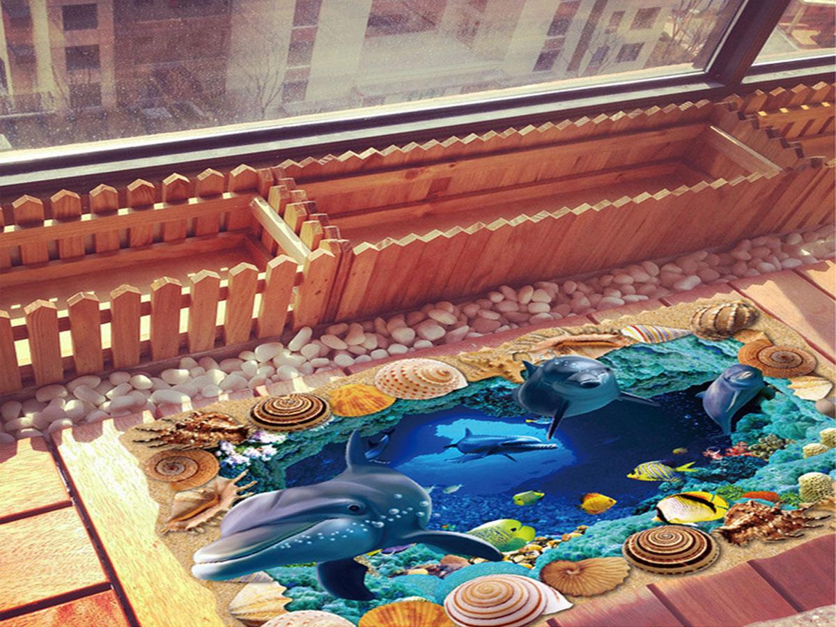 decal dán tường cửa sổ cá mập ốc