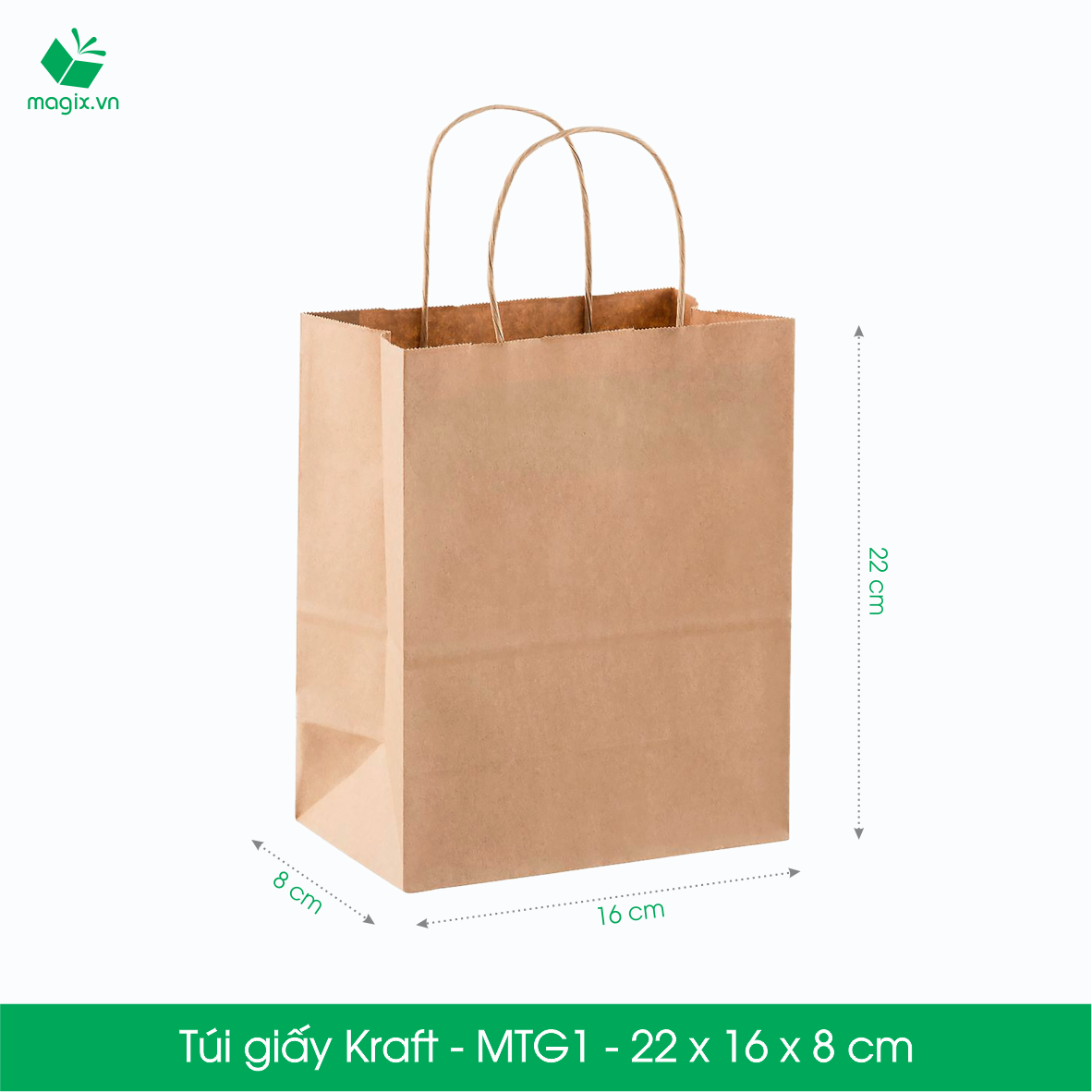 MTG1 - 22x16x8 cm - COMBO 100 TÚI GIẤY KRAFT