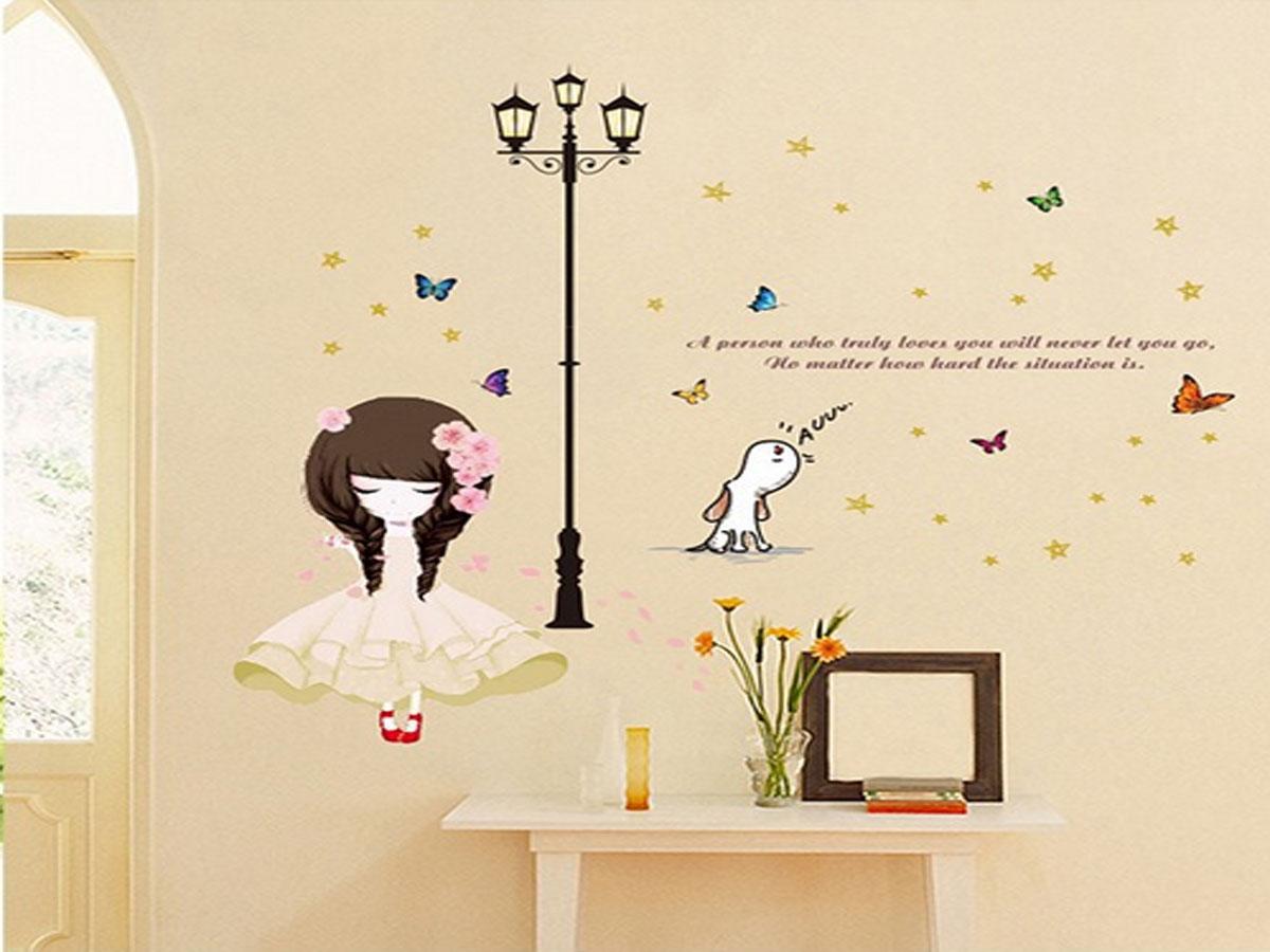 Decal dán tường búp bê váy trắng xl8296