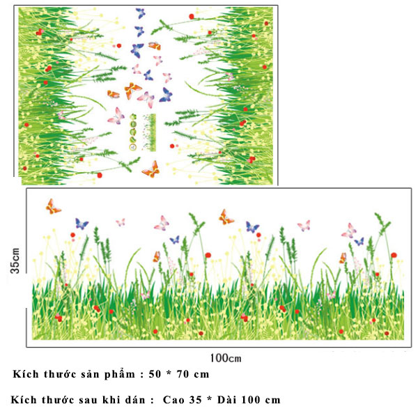 Decal dán chân tường cây cỏ và bướm vui nhộn cho bé AY7151