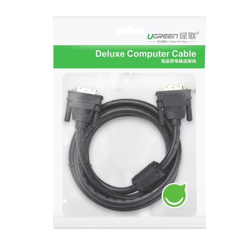 Cáp tín hiệu DVI-D (24+1) 2 đầu đực dài 2m UGREEN DV101 11604 - Hàng chính hãng