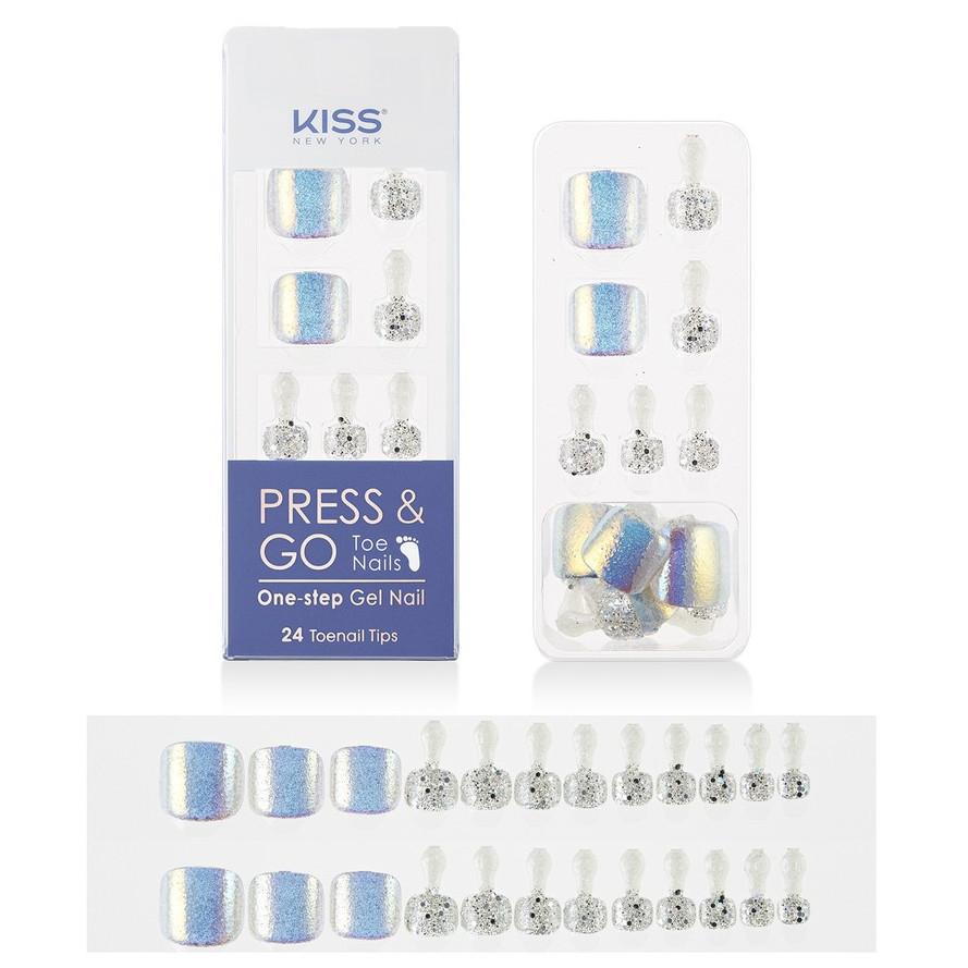 Bộ 24 Móng Chân Gel Dán Press & Go Kiss New York Nail Box - Chrome Silver (KPT03K)