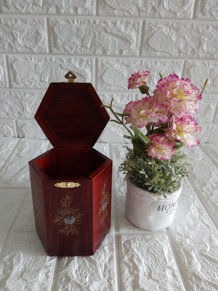 Hộp đựng gói trà gỗ hương đỏ quý hiếm kèm hộp tăm CHTN01