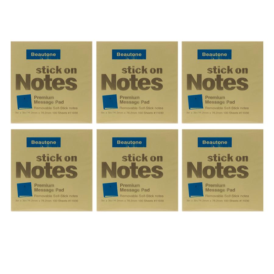 Lốc 6 Xấp Giấy Note Beautone (76.2 x 76.2 mm) - Vàng