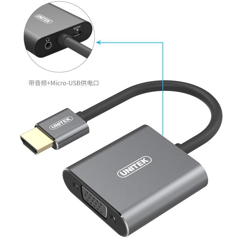 Cáp chuyển đổi HDMI to VGA Unitek Y-5325 GY Hàng Chính Hãng