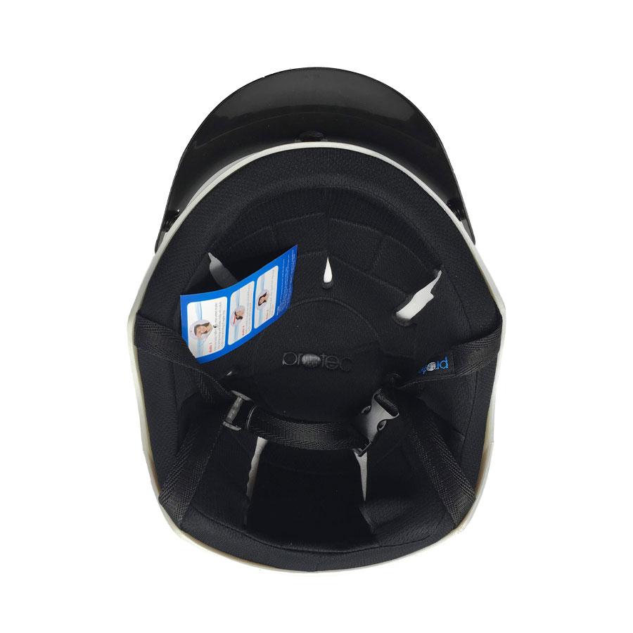 Mũ Bảo Hiểm Nửa Đầu Không Kính  Protec VIC VIXLWF, Tem Kẻ Trắng Thời Trang, An Toàn, Siêu Thoáng - Hàng Chính Hãng