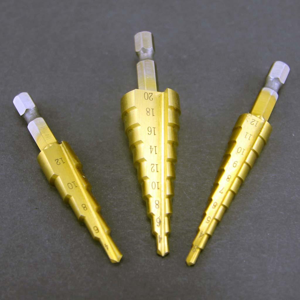 Bộ 3 mũi khoan bước 3-20mm chuôi lục giác phủ Titanium