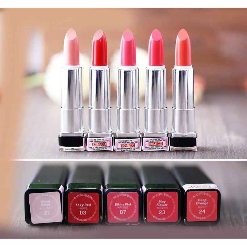 [Tặng kèm móc khoá] Son môi lâu trôi nhiều dưỡng Beauskin Crystal Lipstick 3.5g (#1 Đỏ Tươi)