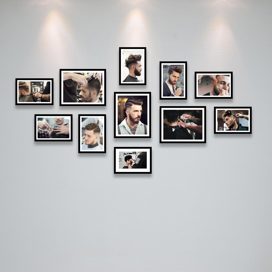 Bộ Khung Treo Tường Trang Trí Salon Cắt Tóc Nam Cực Đẹp Tặng Kèm bộ ảnh như hình mẫu, đinh treo tranh và sơ đồ treo - PGC237