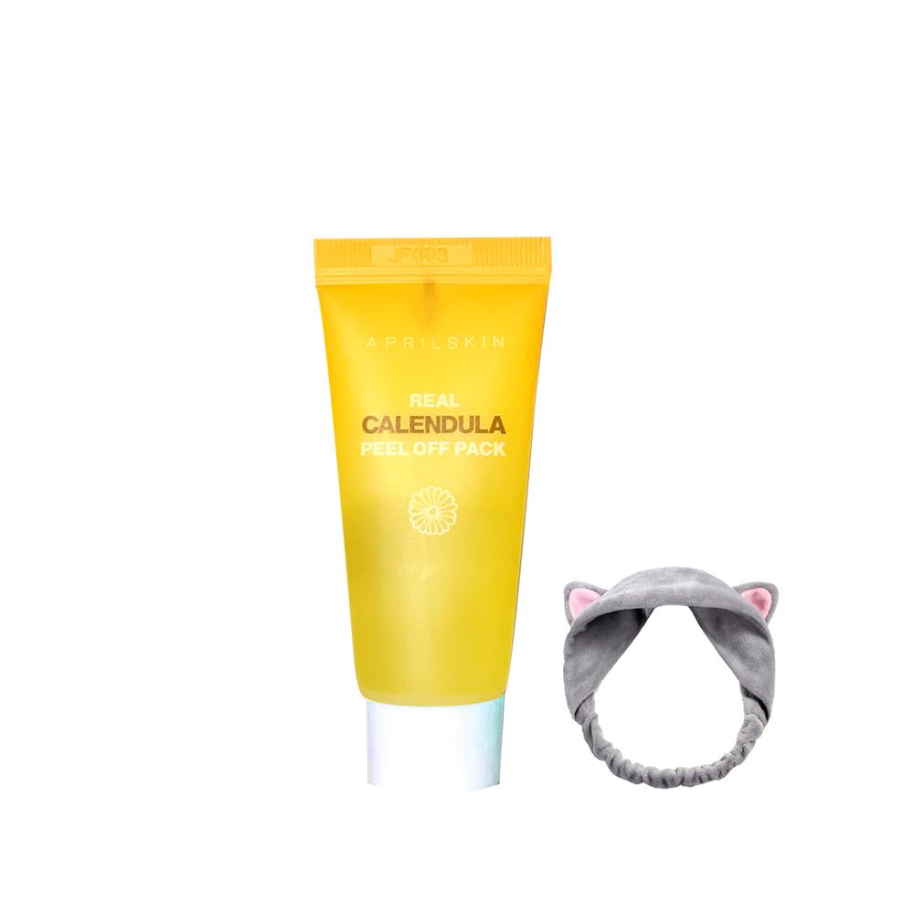 Mặt Nạ Lột Tẩy Tế Bào Chết APRILSKIN Real Calendula Peel Off Pack Minisize 15g +Tặng Kèm 1 Băng Đô Tai Mèo ( Màu Ngẫu Nhiên)