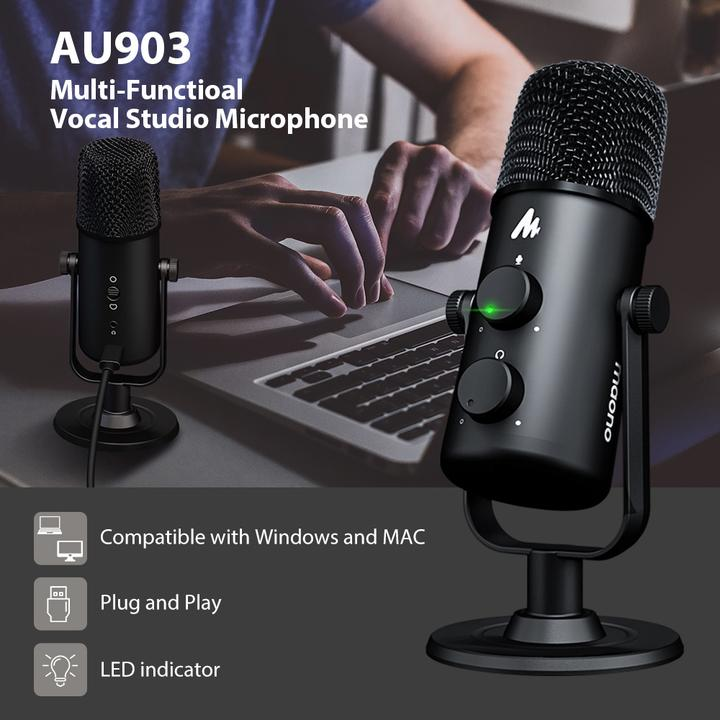 Micro thu âm cổng USB MAONO AU-903 đa năng 2 hướng thu âm cho máy tính - Hàng chính hãng