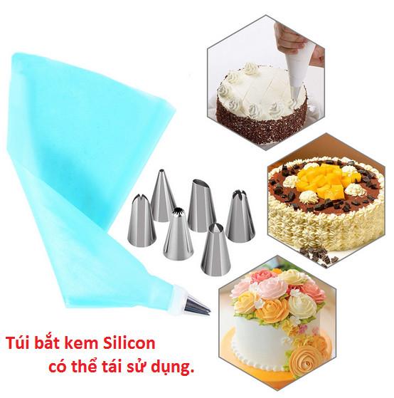 Bộ 6 đui bắt bông kem kèm chốt và túi đựng kem trang trí bánh GD230-BatKem