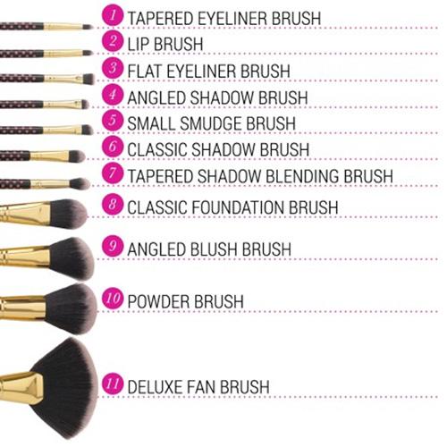 Bộ Cọ Trang Điểm 11 cây BH Cosmetics Pink - A - Dot 11 Piece Brush Set - Hồng Chấm Bi