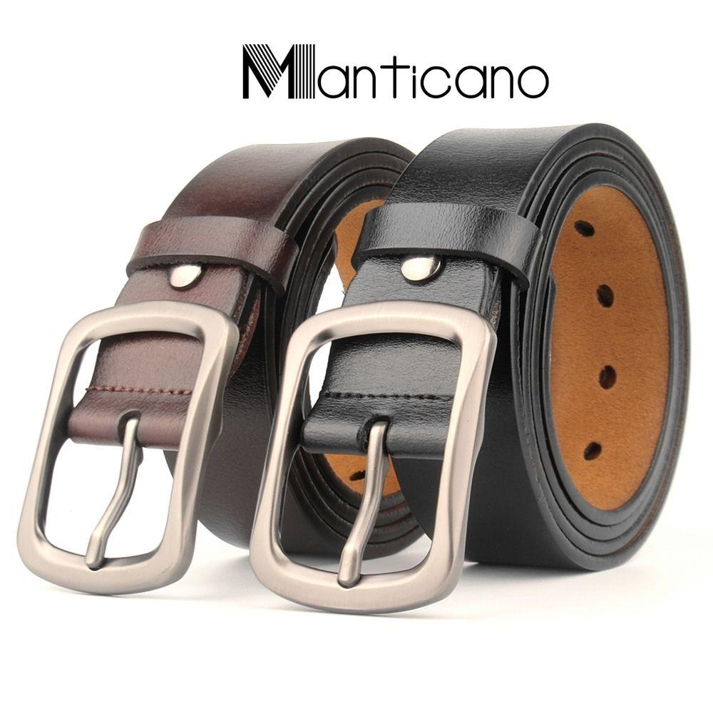 Thắt lưng nam Manticano da bò thật Cao Cấp 100%. Tặng kèm đinh đục lỗ
