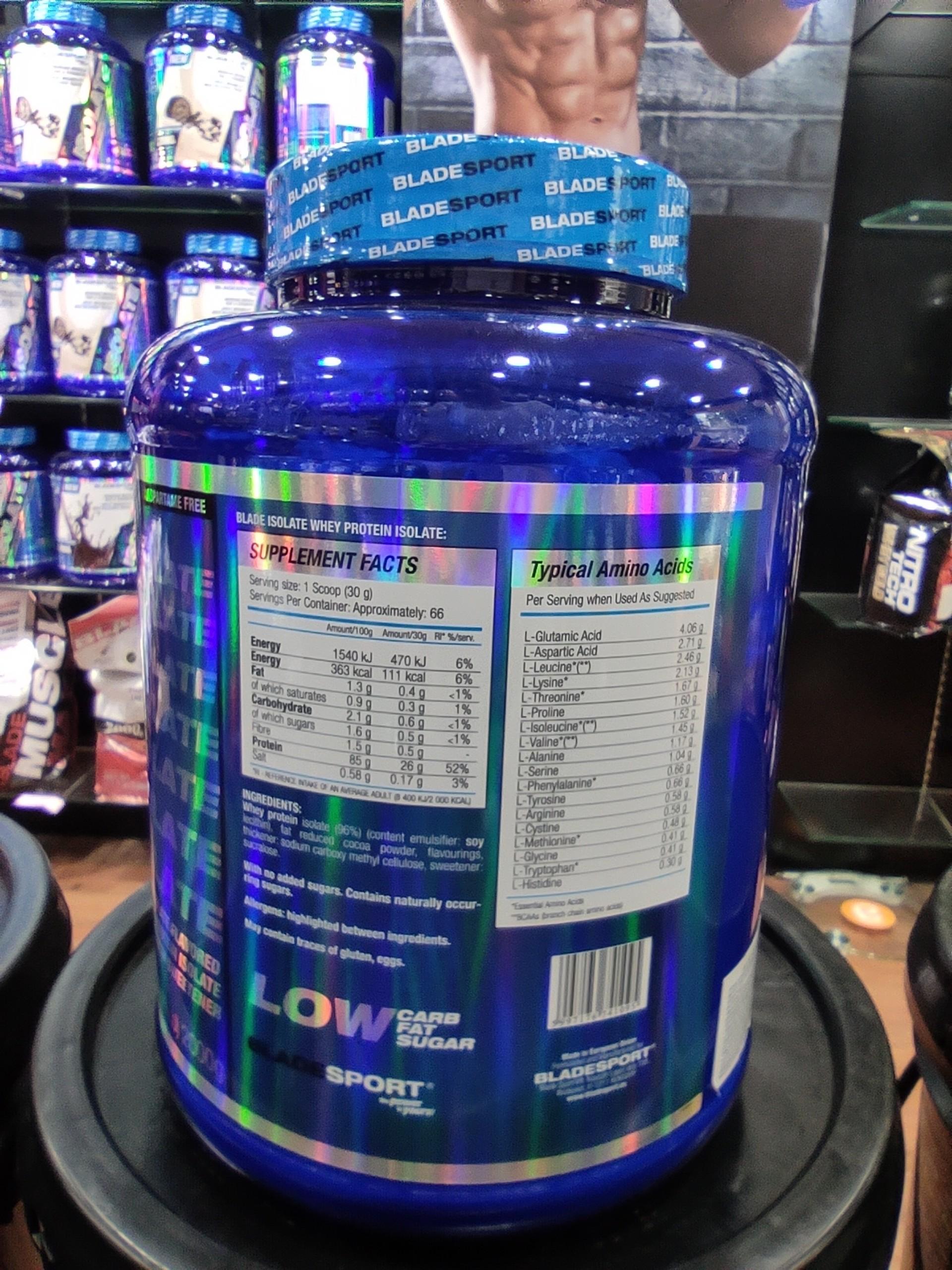 Sữa Tăng Cơ Blade Isolate 2000g – KÈM QUÀ - 3 Hương vị để lựa chọn - Protein tinh khiết hấp thụ nhanh – Hỗ trợ phục hồi, phát triển cơ bắp cho người chơi thể hình và thể thao – Thương hiệu Châu Âu, nhập khẩu chính hãng