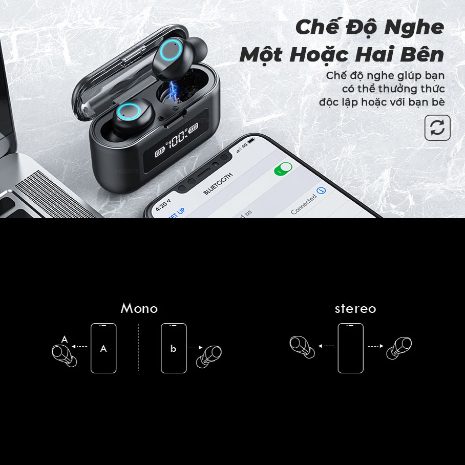 Tai Nghe Bluetooth Chơi Game Nghe Nhạc Xem Phim Tập Gym, Âm Thanh 3D Có Đèn Led, Điều Khiển Cảm Ứng, Chống Nước, Kiêm Pin Sạc Dự Phòng - Hàng Chính Hãng