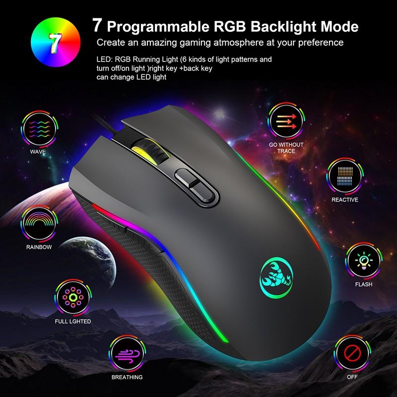 Chuột LED RGB 7200 DPI Gaming Mouse A869 cho máy tính