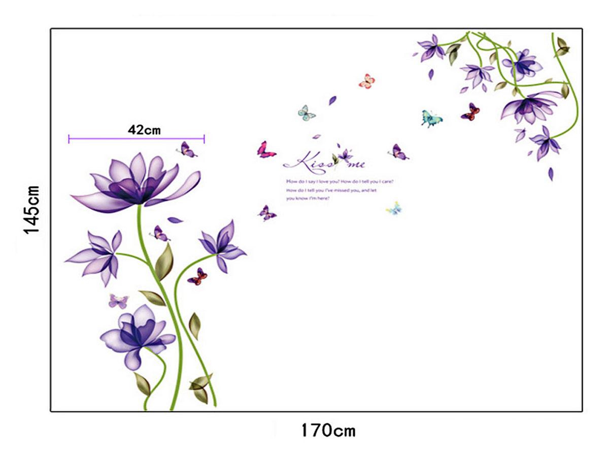 decal dán tường dây hoa tím sk9035