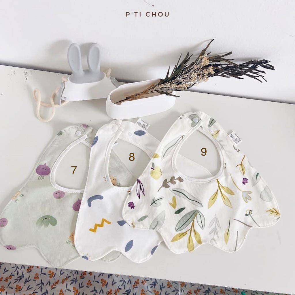 Yếm Cổ Cotton In Hoạ Tiết Cho Bé Trai Bé Gái Từ 6 Tháng Đến 3 Tuổi Bán Rời Lẻ 1 Cái Ngẫu Nhiên