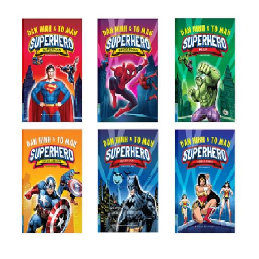 Sách - combo Dán hình & tô màu SUPERHERO (trọn bộ 6 quyển)