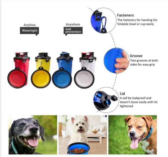 Bình đựng thức ăn nước uống 2 ngăn kèm tô dành cho thú cưng (giao màu ngẫu nhiên)