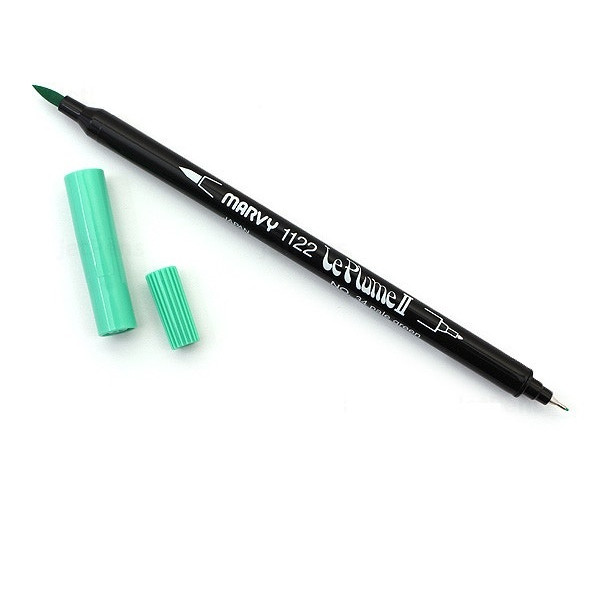 Bút lông hai đầu màu nước Marvy LePlume II 1122 - Brush/ Extra fine tip - Pale Green (34)