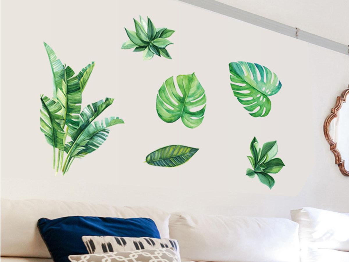 decal dán tường lá cây nhiệt đới sk9239