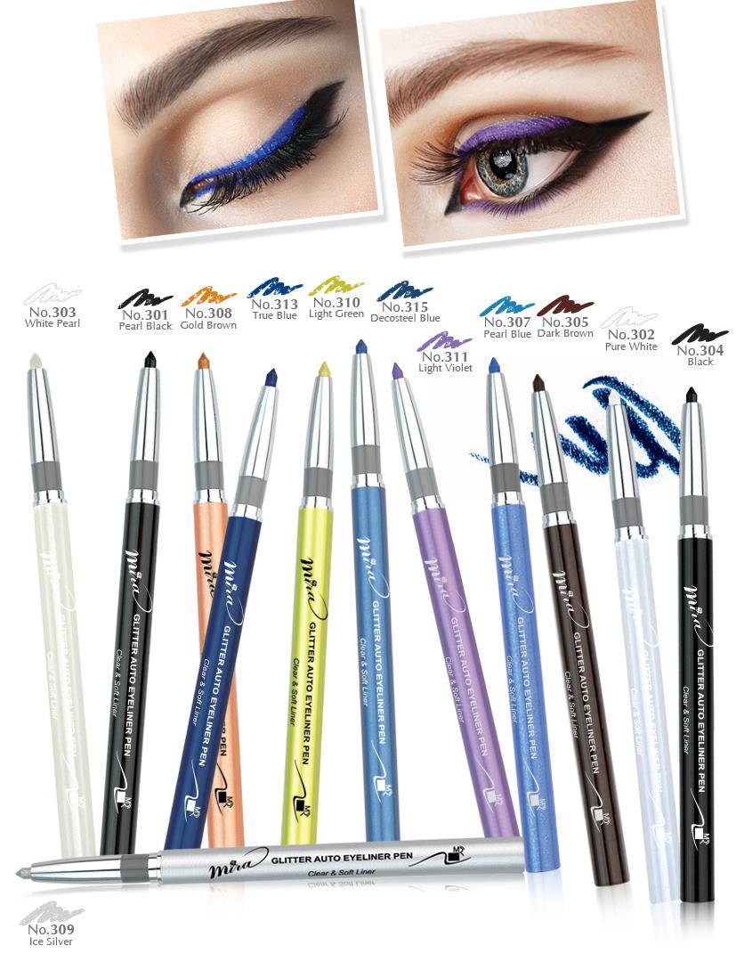 Chì mí kim tuyến Mira Glitter Auto Eyeliner Pen Hàn Quốc No.305 Dark brown tặng kèm móc khoá