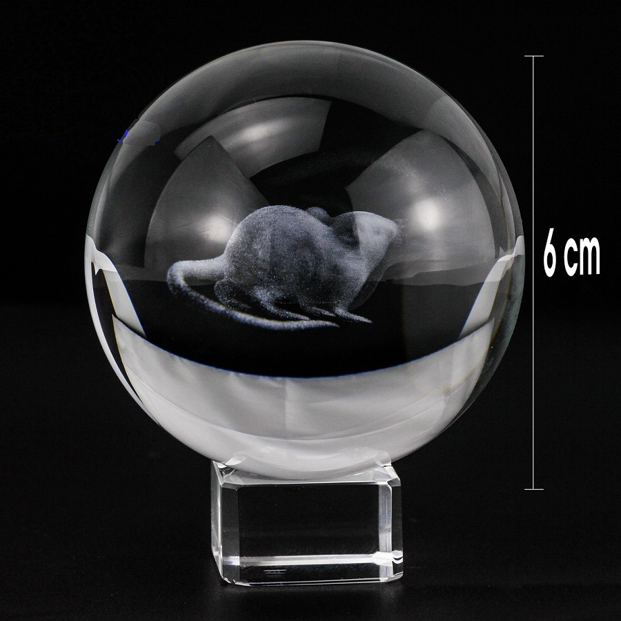 Quả cầu pha lê con Chuột 3D tặng kèm đế pha lê trang nhã