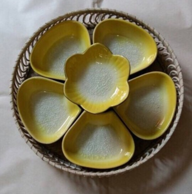 Bộ Đĩa Lẩu Kem 5 Món Hoa Mai- Gốm Sứ Bát Tràng Cao Cấp