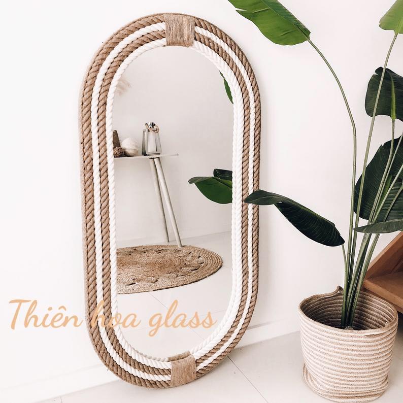 Gương treo tường đan dây thừng chắc chắn trang trí