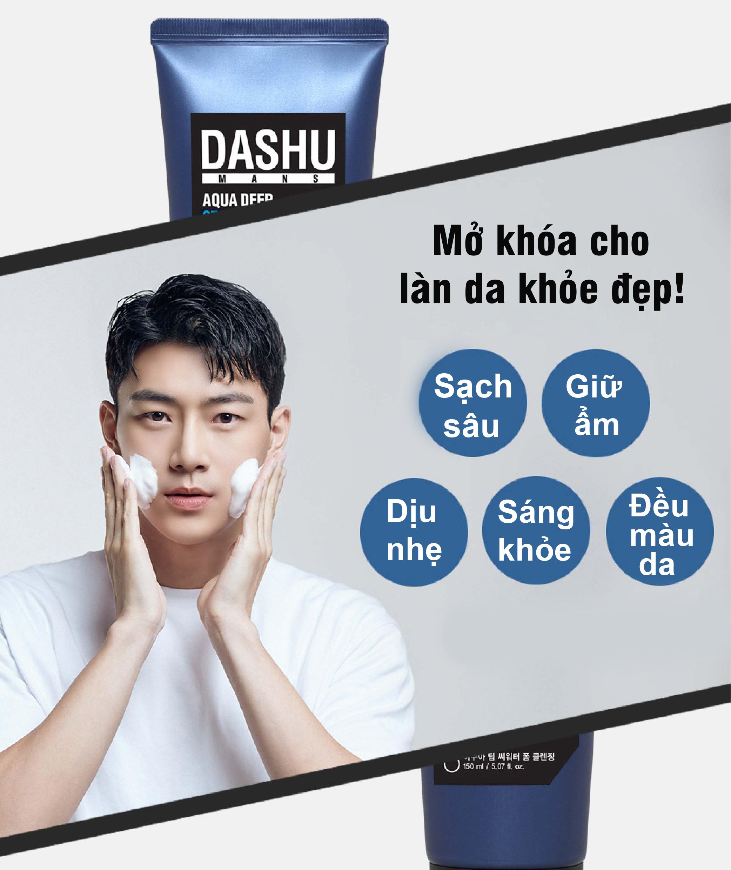 Bộ sản phẩm chăm sóc da DASHU Sữa rửa mặt và Kem chống nắng dành cho nam chính hãng Hàn Quốc JN-CSD01