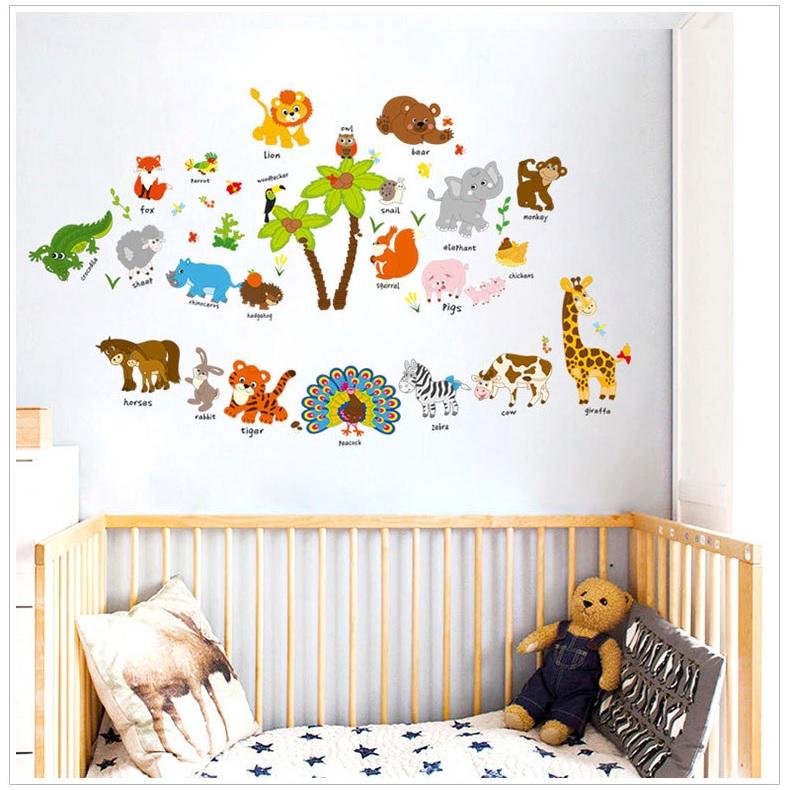 Decal trang dán tường vườn thú tiếng anh 3 AmyShop (68 x 126 cm)