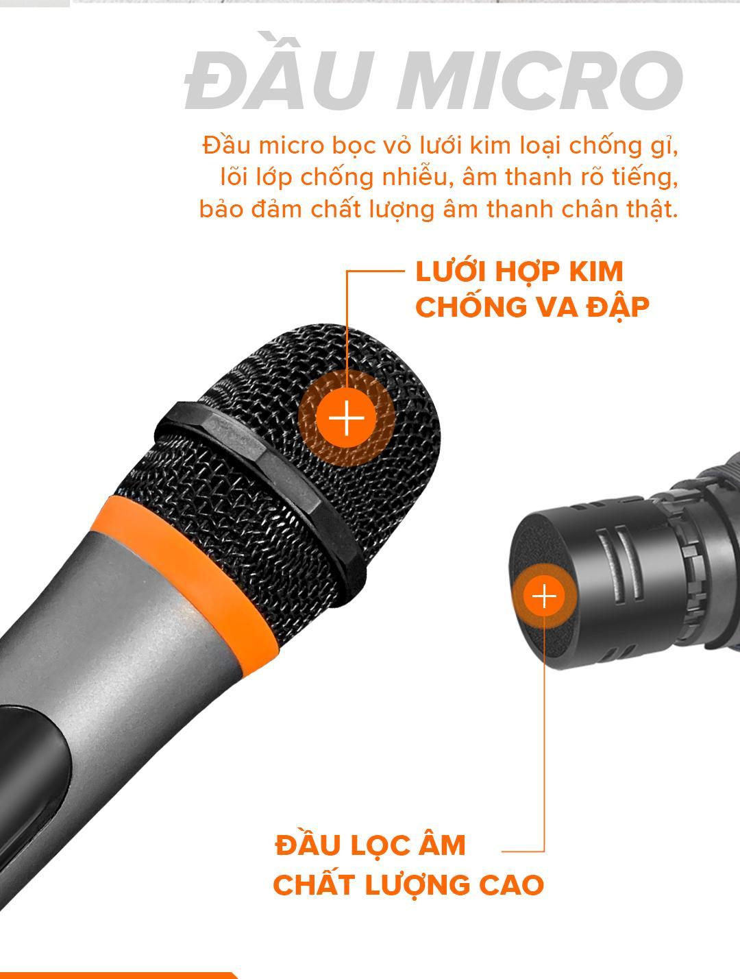 Micro Không Dây Cao Cấp C.O.K ST-304 Dành Cho Loa Kéo, Dàn âm Ly Jack 6.5 Hàng chính hãng 100%
